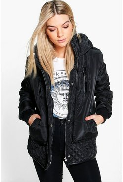 Megan Sporty Quilted Zip Detail Coat
