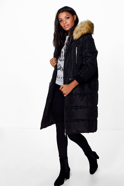 Lucy Duvet Coat With Faux Fur Hood  black