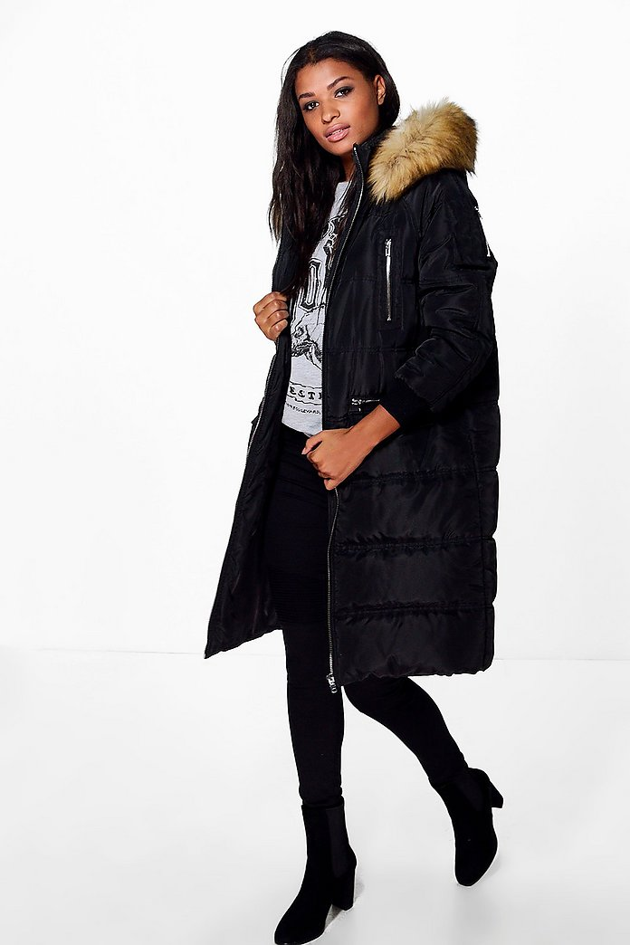 Boutique Lucy Duvet Coat With Faux Fur Hood