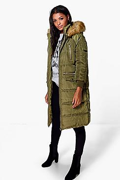 Boutique Maisie Duvet Coat With Faux Fur Hood