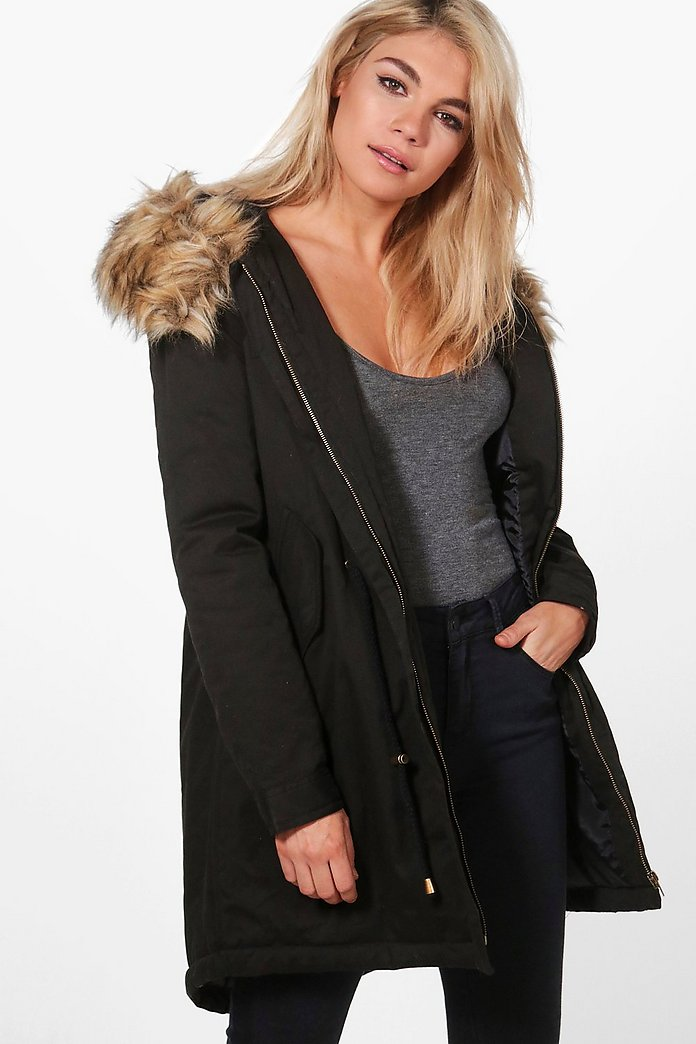 Caroline Parka With Luxe Faux Fur Hood