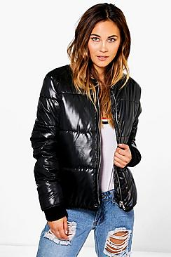 Isabella Wet Look Bomber Jacket
