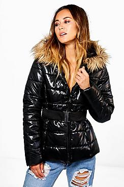Ava Wet Look Belted Jacket
