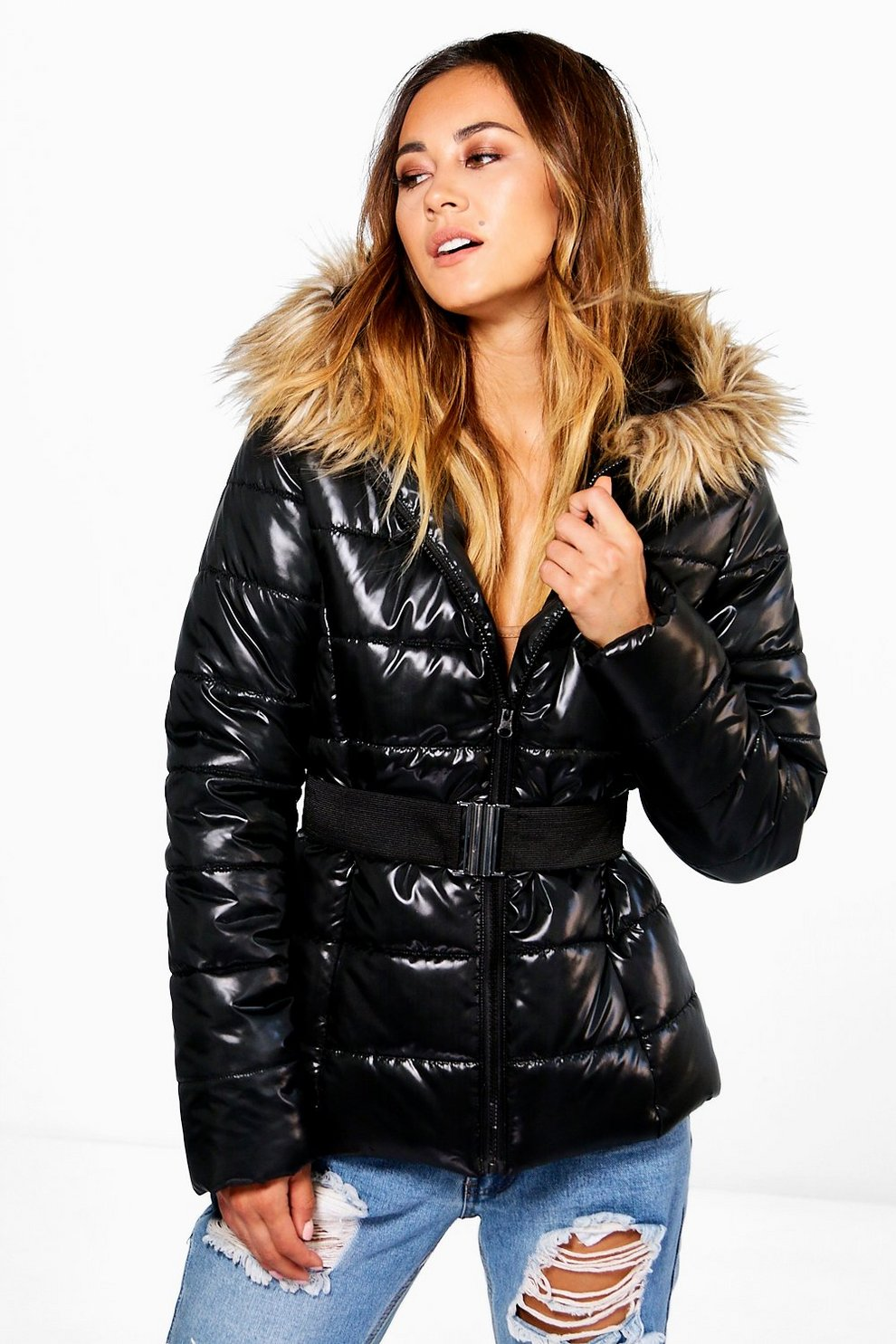 Black wet look puffa coat with fur hood