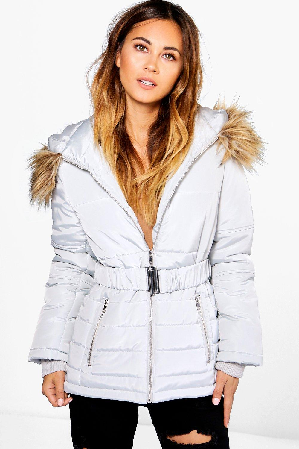 Grace Belted Quilted Jacket With Faux Fur Hood