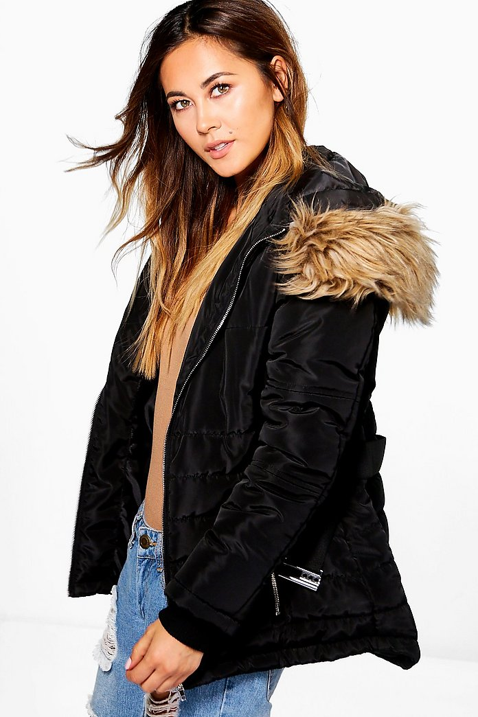 Ruby Belted Quilted Jacket With Faux Fur Hood