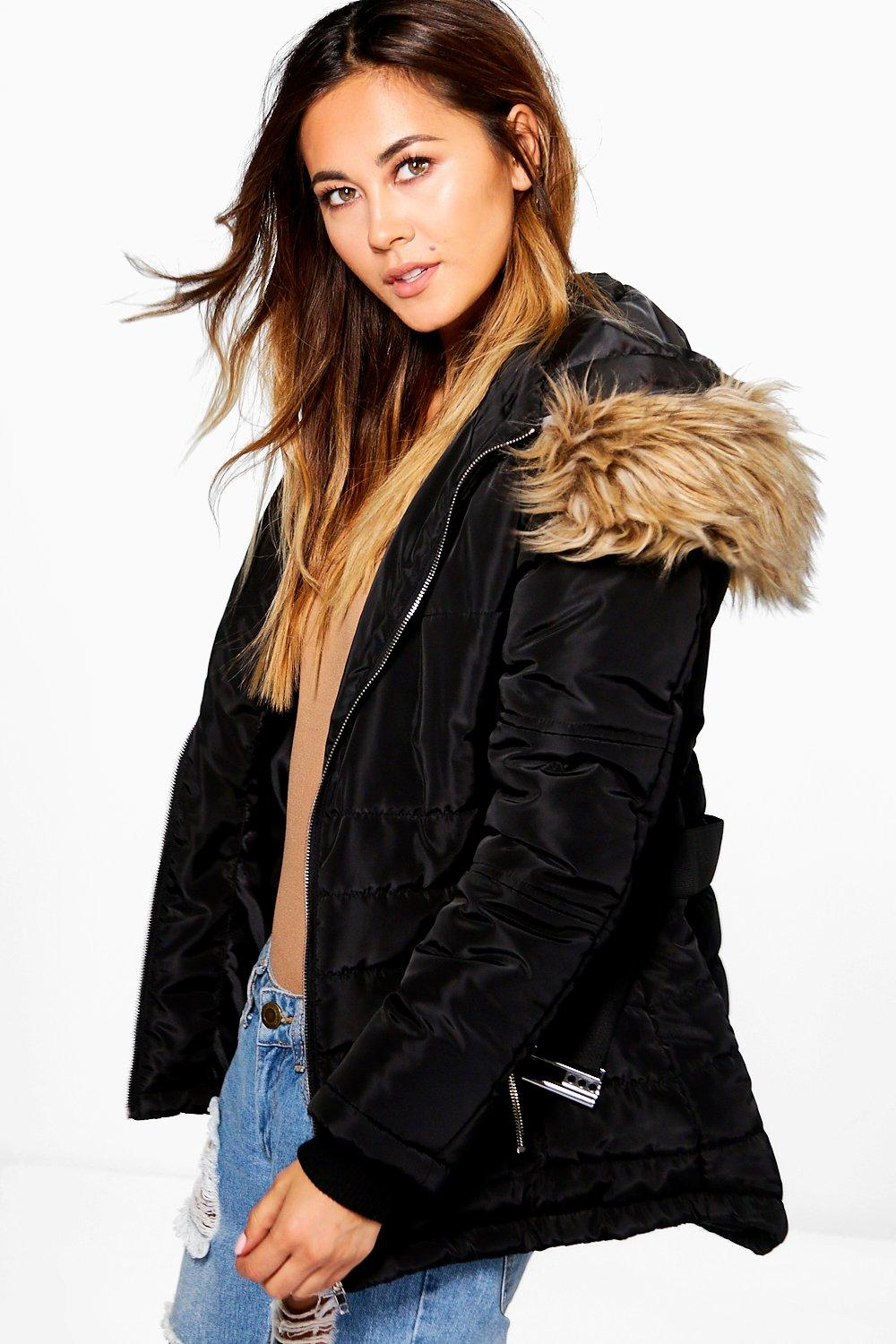 Ruby Belted Quilted Jacket With Faux Fur Hood | Boohoo