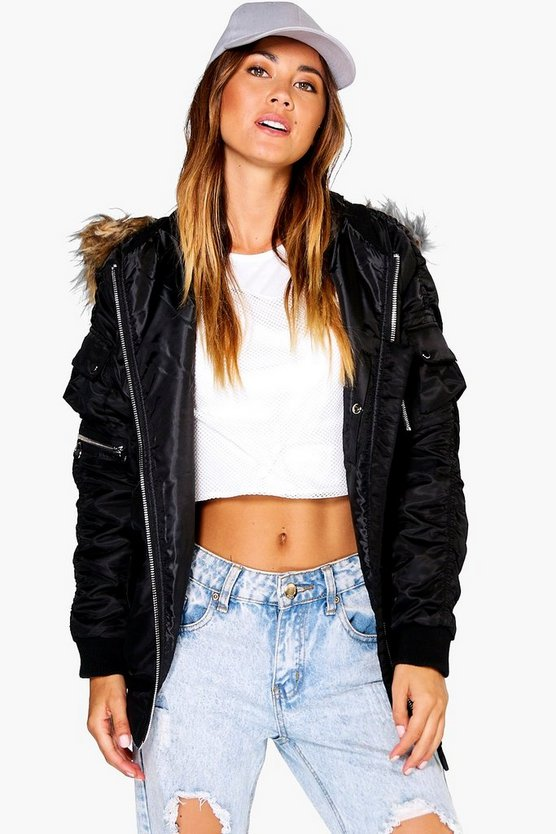 Sophie MA1 Bomber With Faux Fur Hood