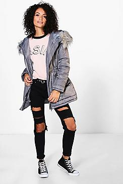 Lily Luxe Padded Coat With Faux Fur Hood