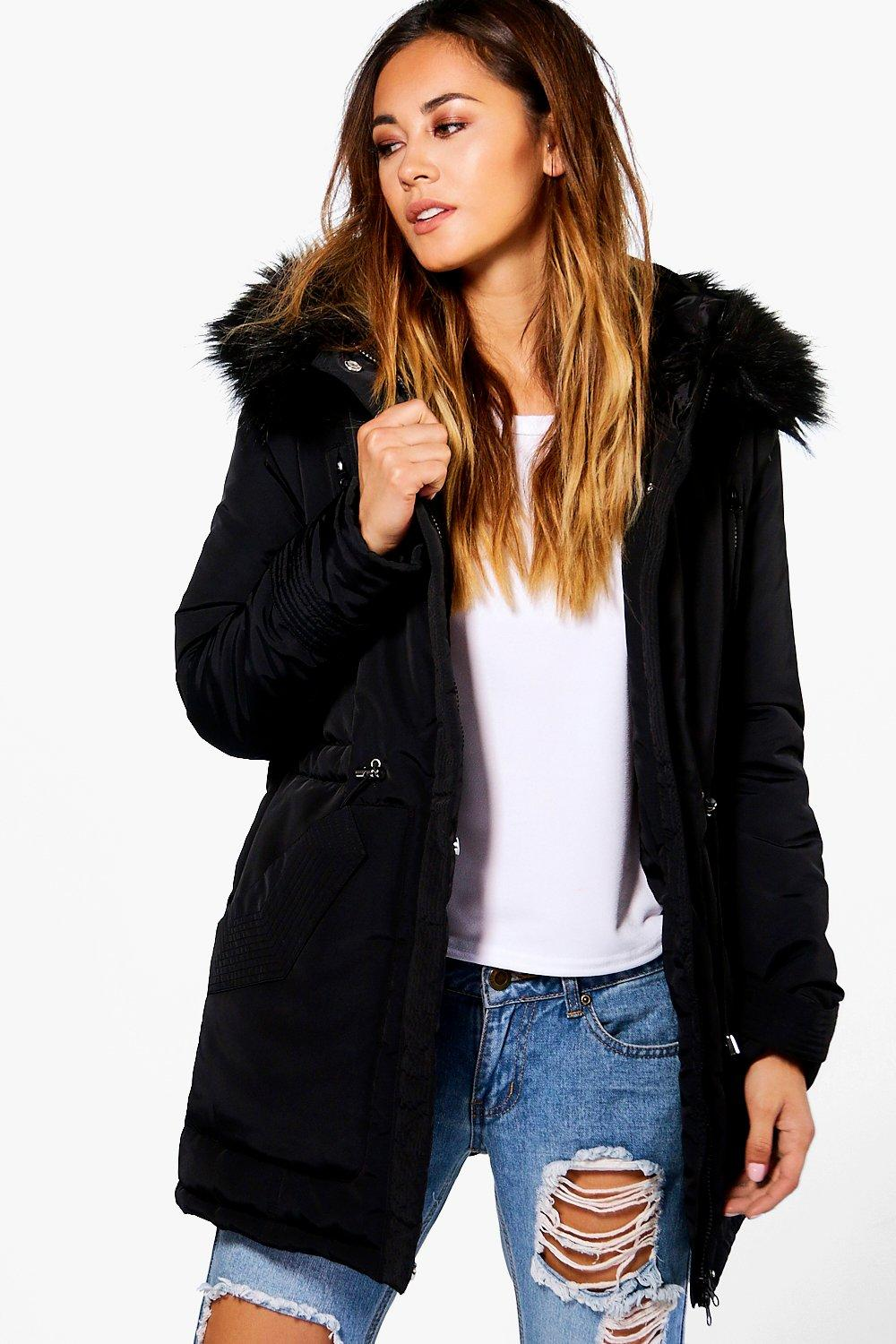 Luxe Padded Coat With Faux Fur Hood  black