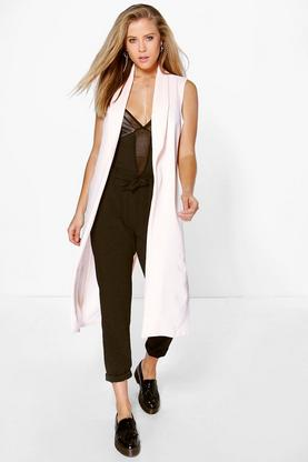 Maisie Sleeveless Split Back Woven Crepe Duster