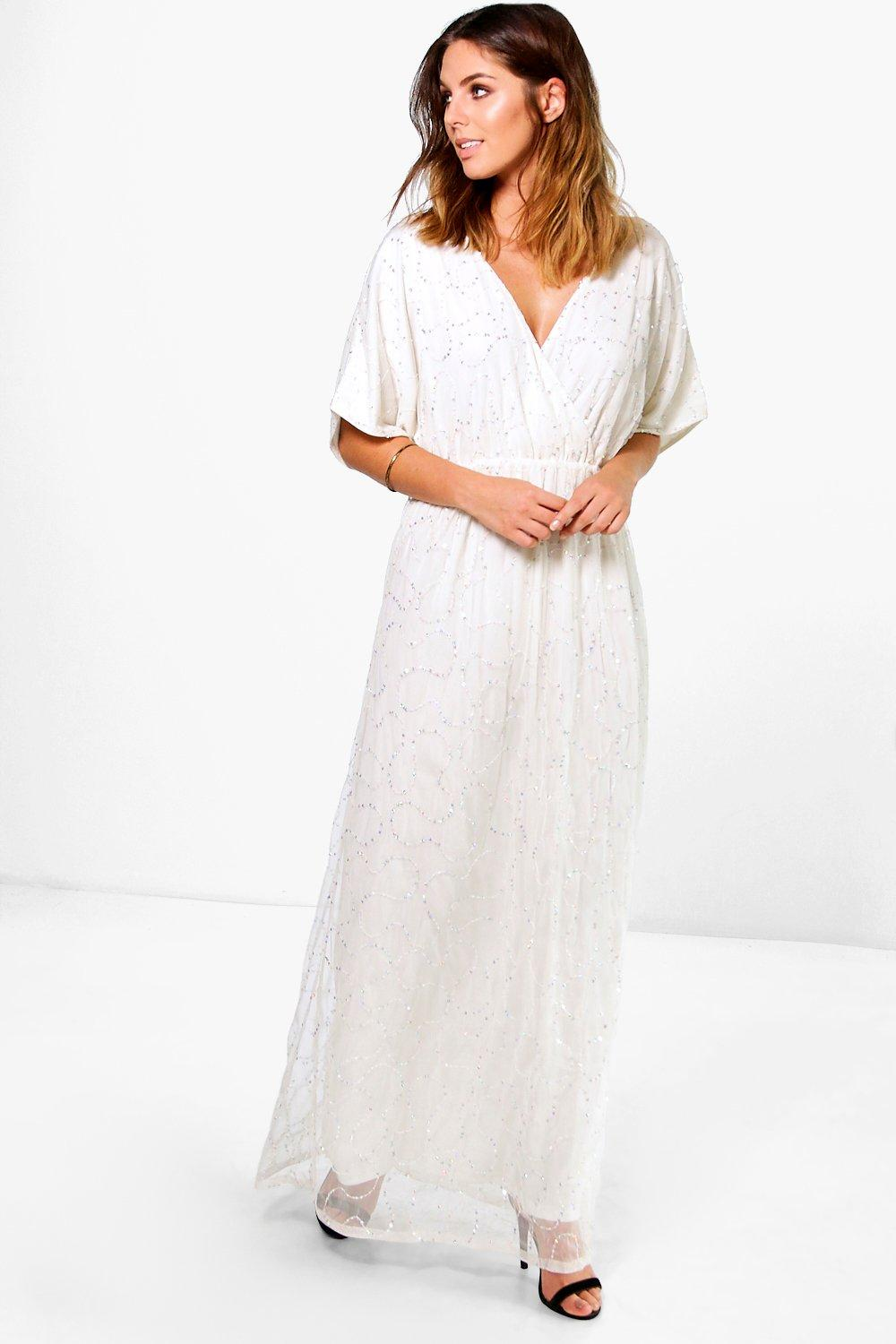 Boutique Sal All Over Sequin Wrap Maxi Dress