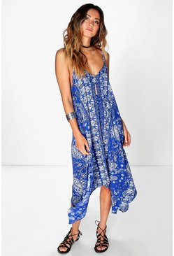Alicia Blue Paisley Hanky Hem Dress