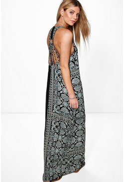 Pihu Placement Print Back Detail Maxi Dress