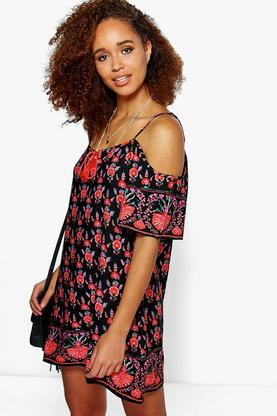 Aarohi Floral Tassel Open Shoulder Dress