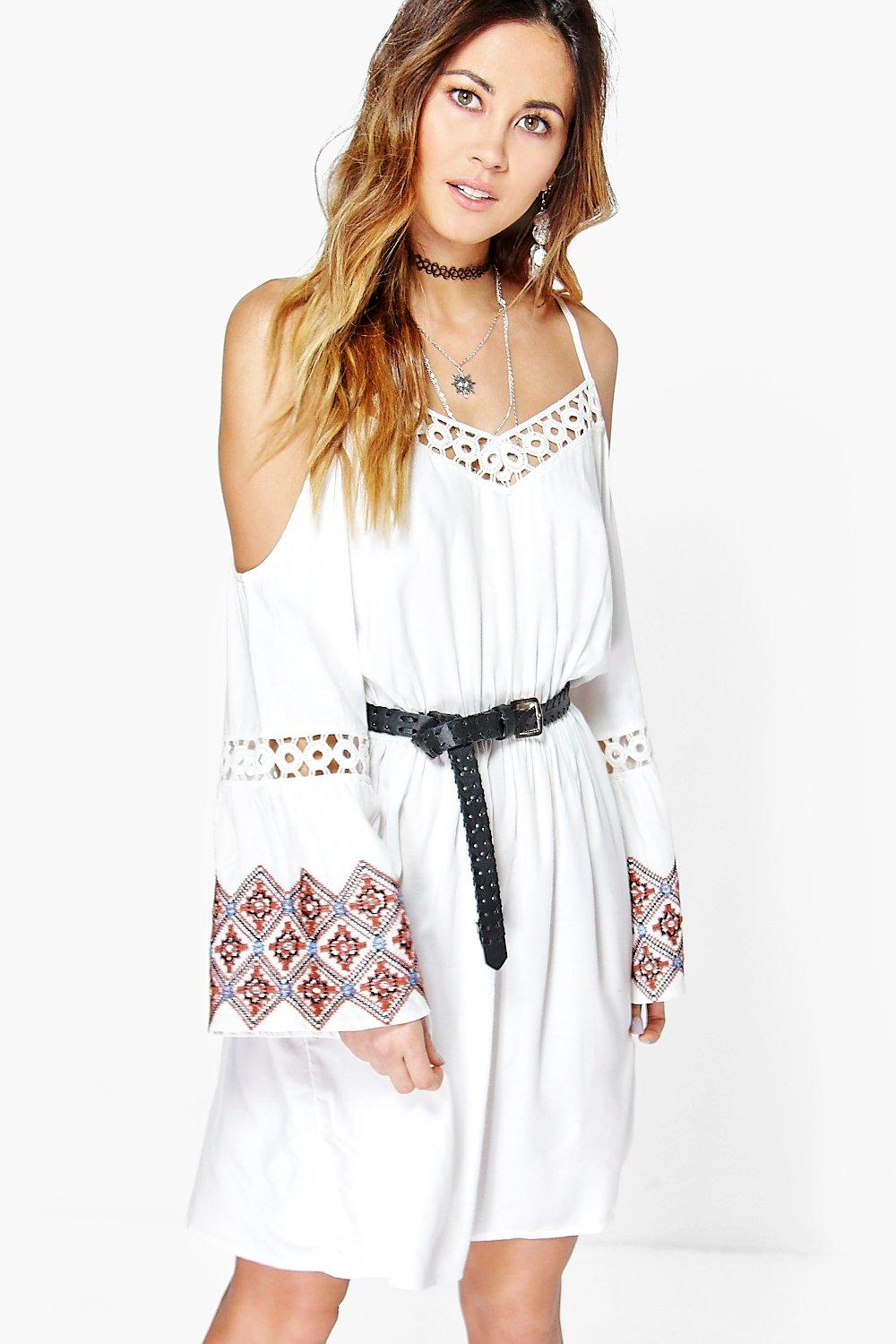 Sai Embroidered Sleeve Open Shoulder Dress