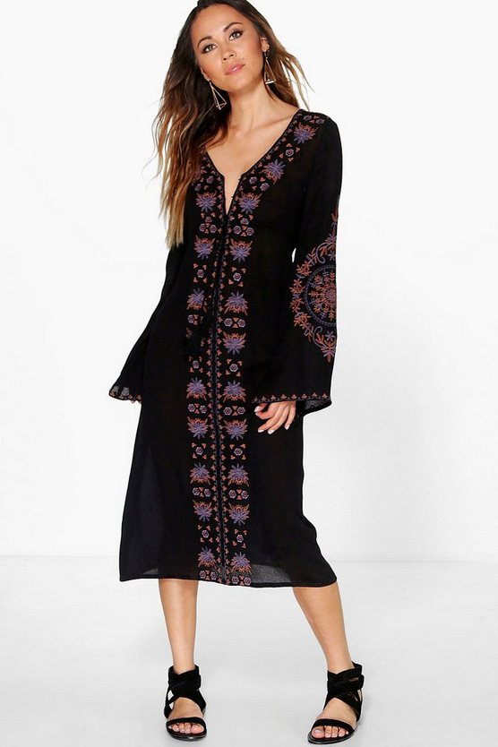 Boutique Ira Embroidered Wide Sleeve Midi Dress