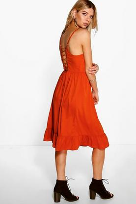 Aahana Frill Hem Tie Back Midi Dress