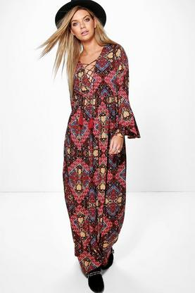 Aditi Lace Up Tassel Long Sleeve Maxi Dress