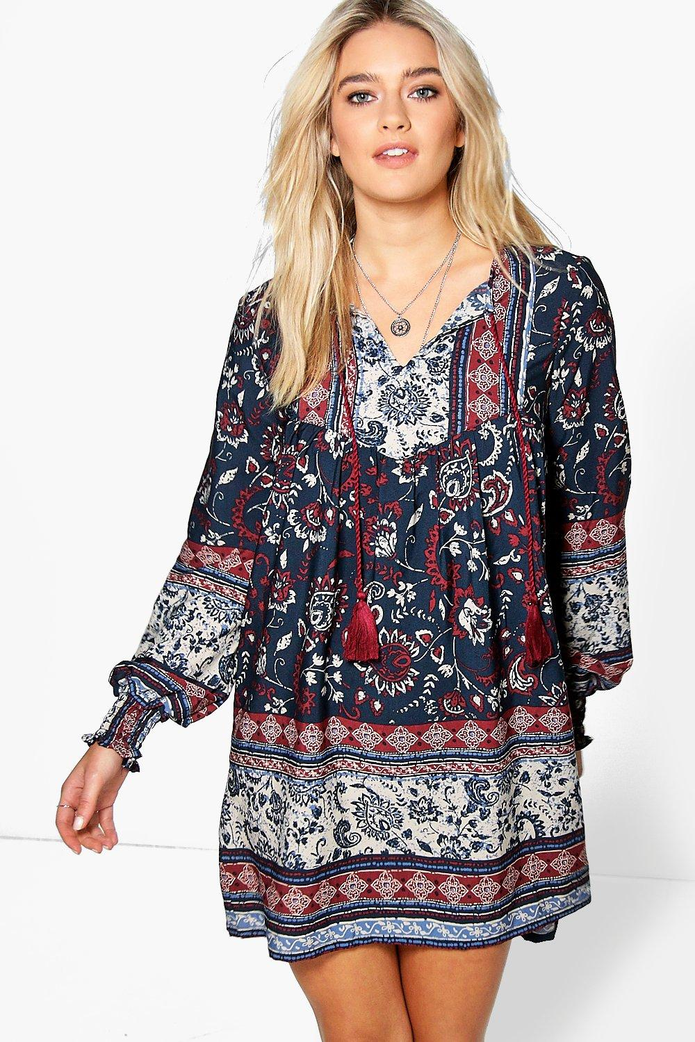 Aarna Printed Tassel Smock Dress