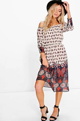 Boutique Diya Sequin Off The Shoulder Midi Dress