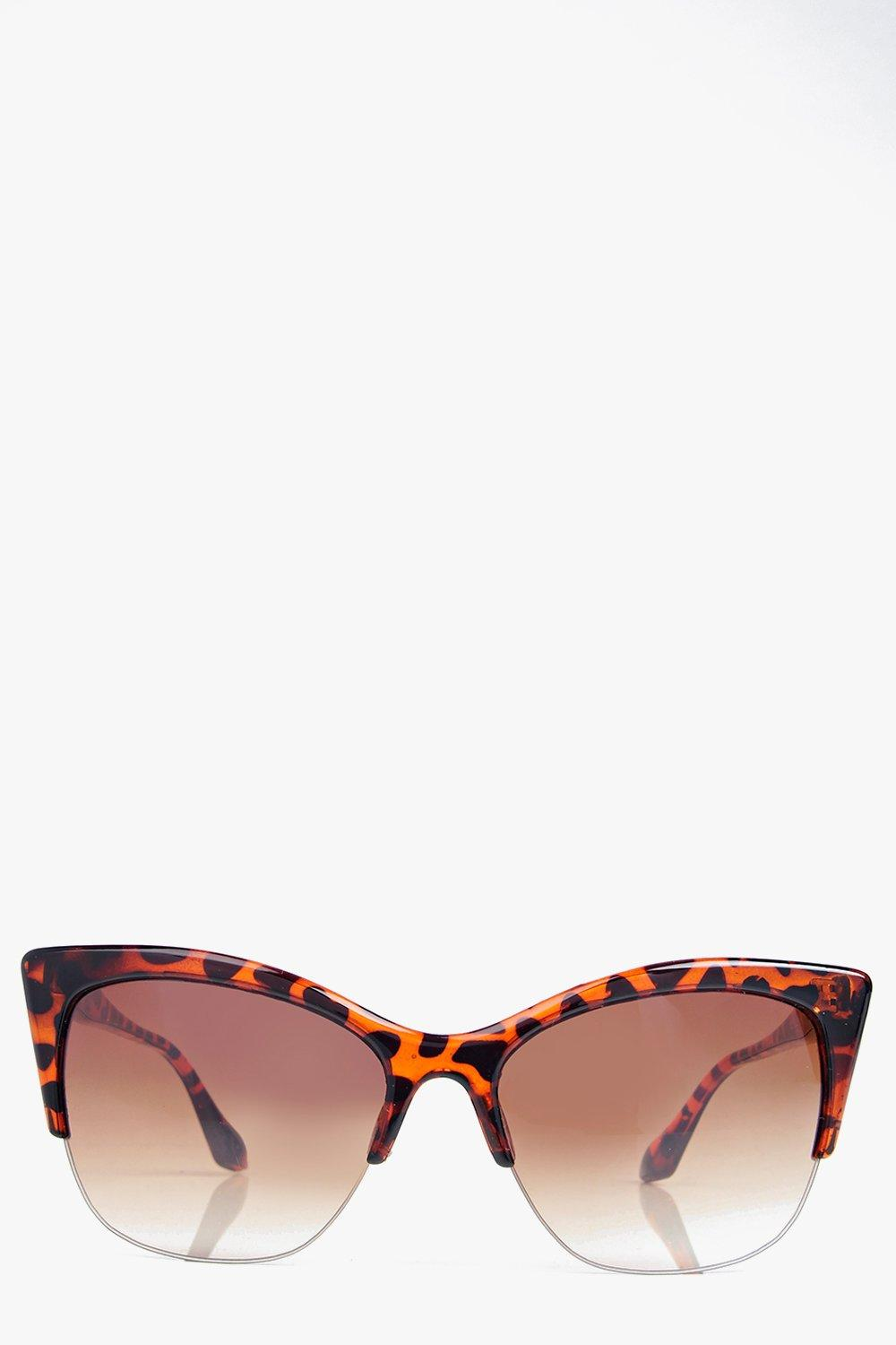 Half Frame Cat Glasses : Boohoo Womens Lacey Half Frame Cat Eye Sunglasses in Brown ...