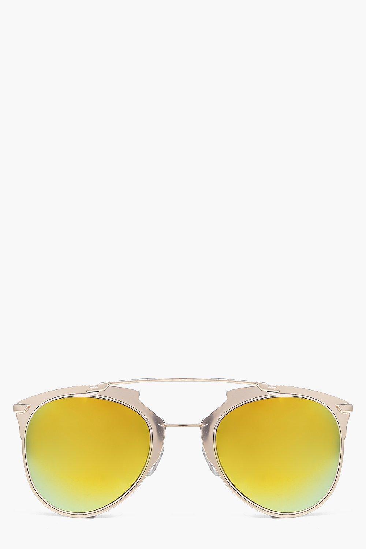 Thick Metal Frame Aviator Sunglasses gold