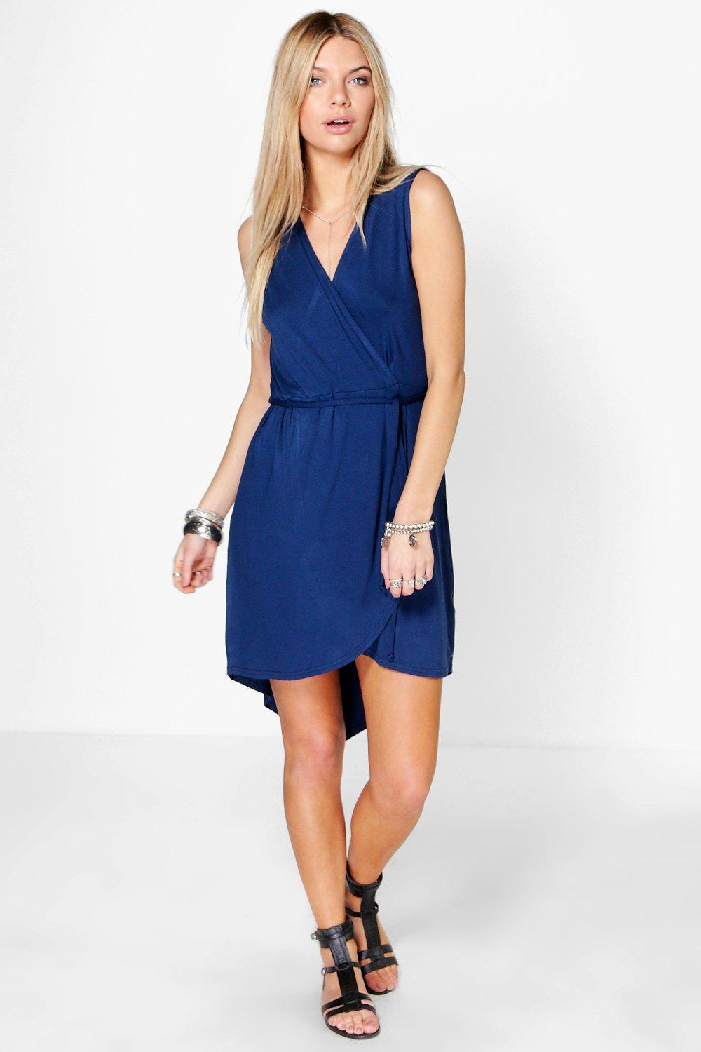 Kandia Wrap Front Sleeveless Dress