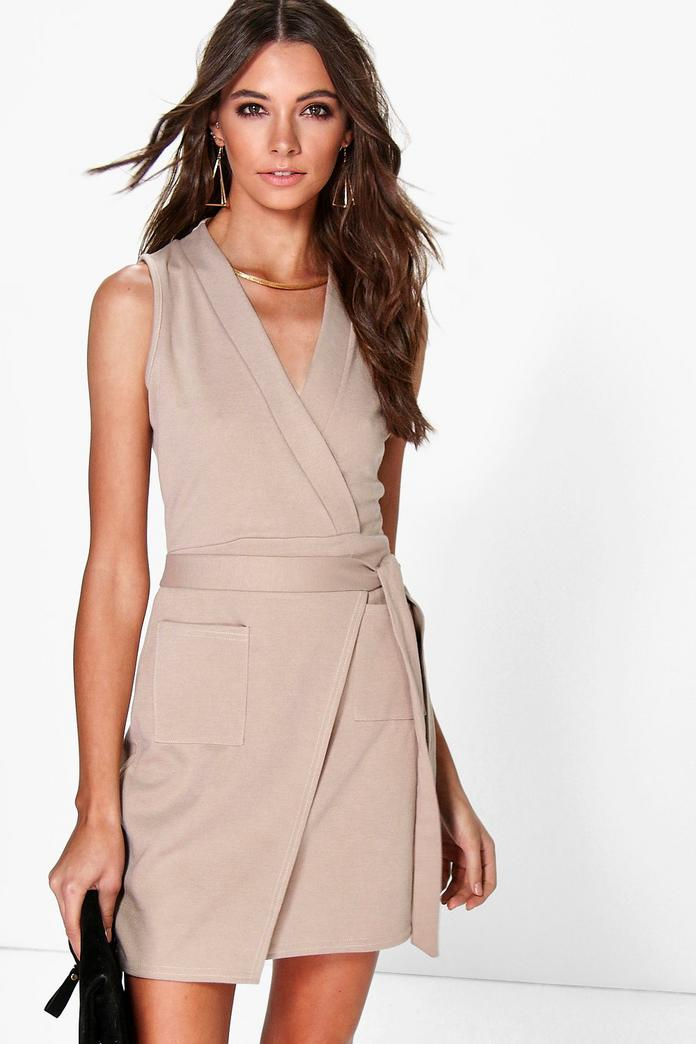 Aileen Obi Tie Sleeveless Wrap Dress Boohoo