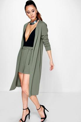 Carla Collarless Crepe Duster