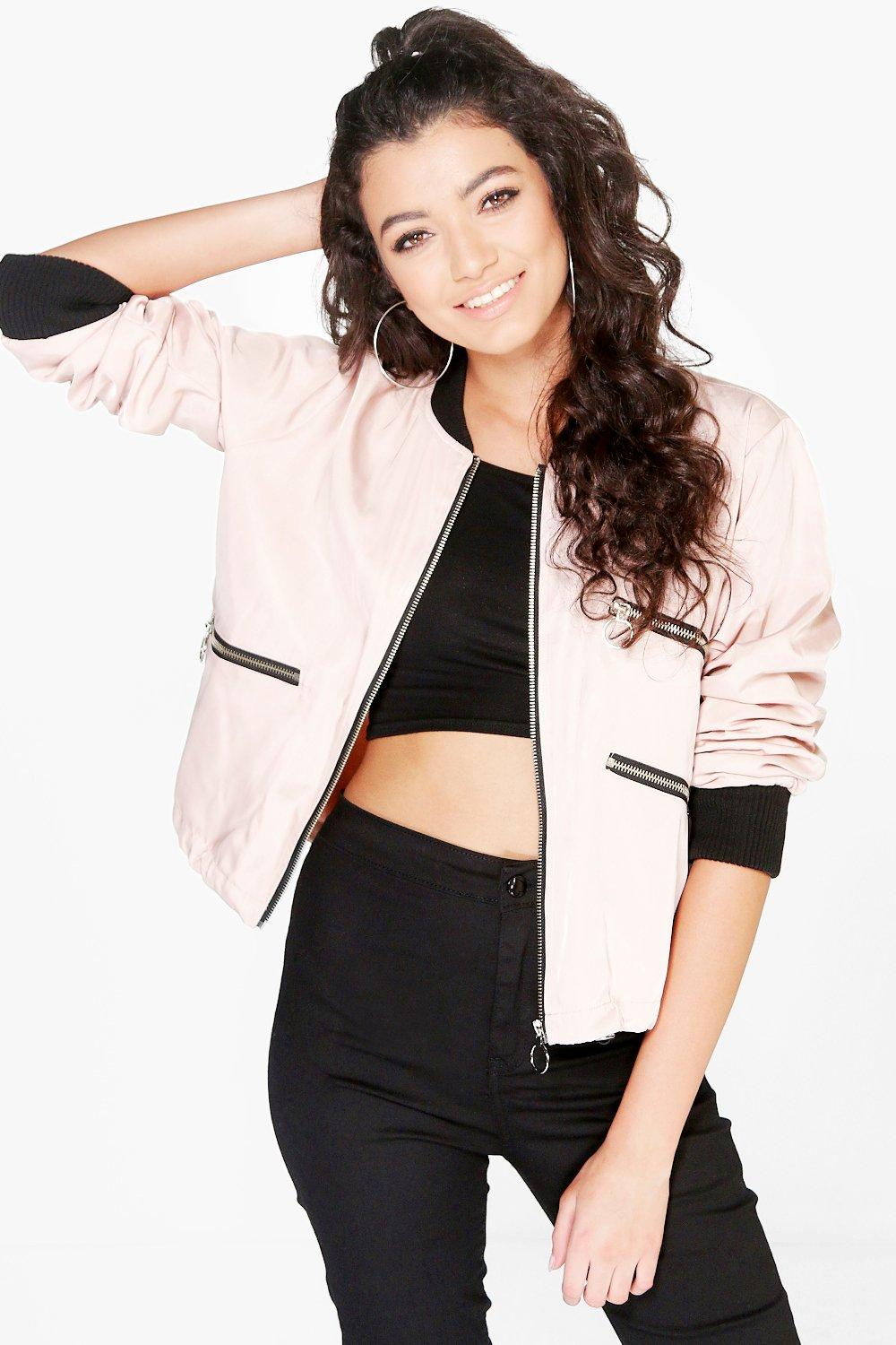 Boutique Elise Crop Bomber Jacket