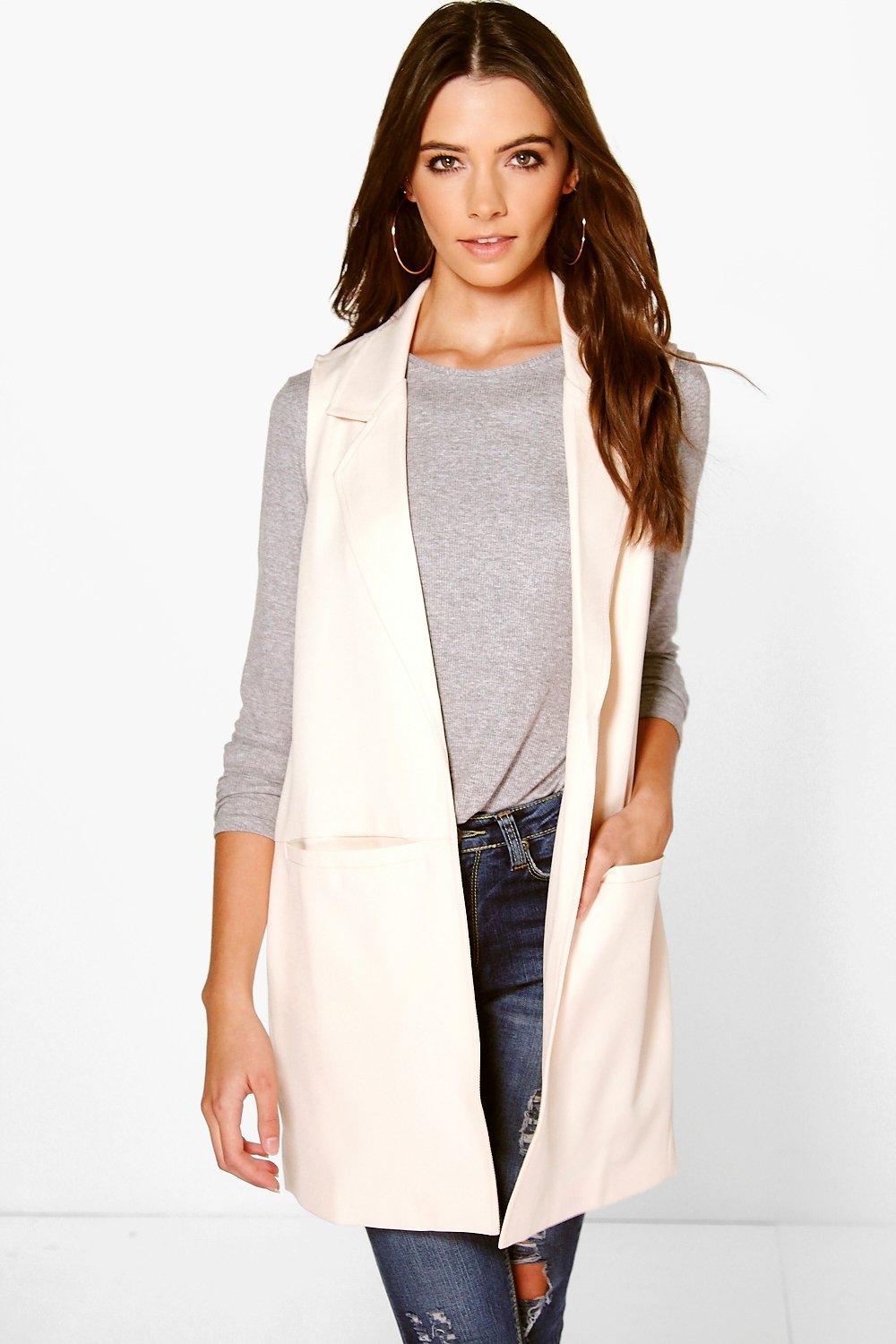 Sleeveless Double Breasted Blazer nude