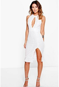 Boutique Kaya Lace Keyhole Peplum Midi Dress
