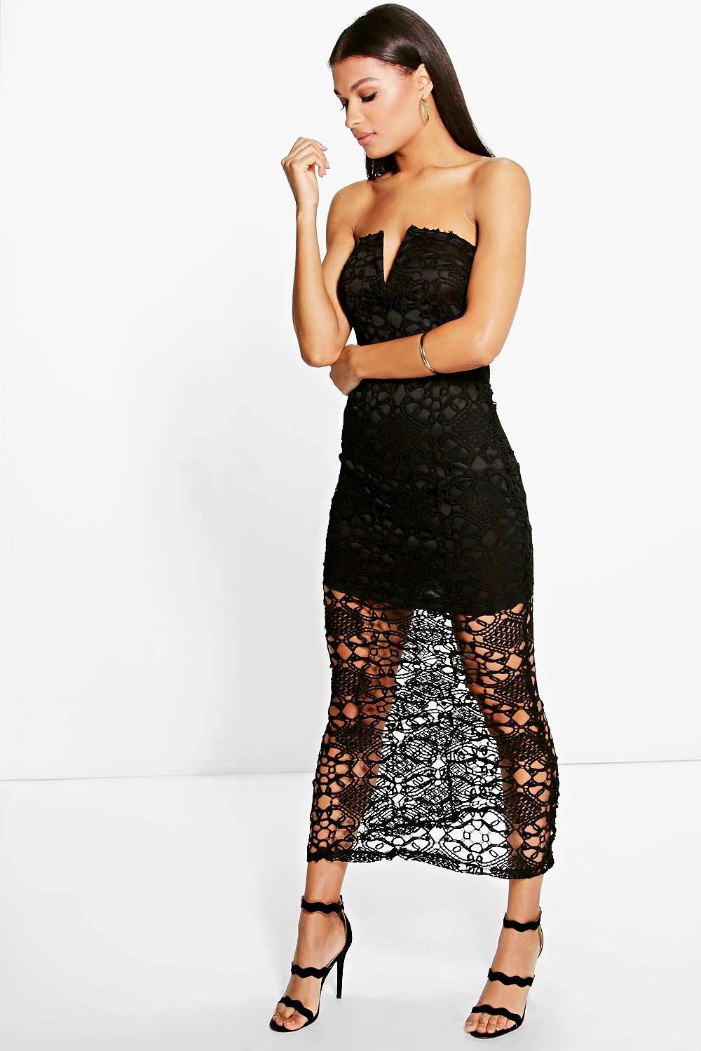 Aileen Crochet Lace Bandeau Maxi Dress