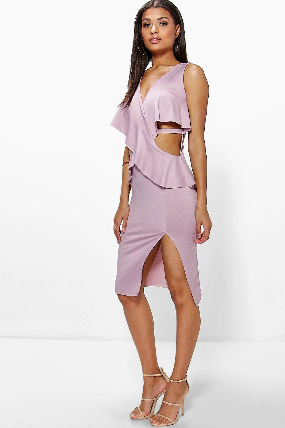 Beatrice Frill Wrap Detail Cut Out Side Midi Dress