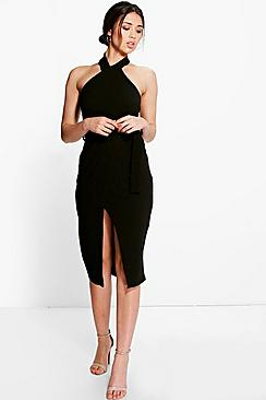 Belle High Neck Tie Waist Wrap Midi Dress