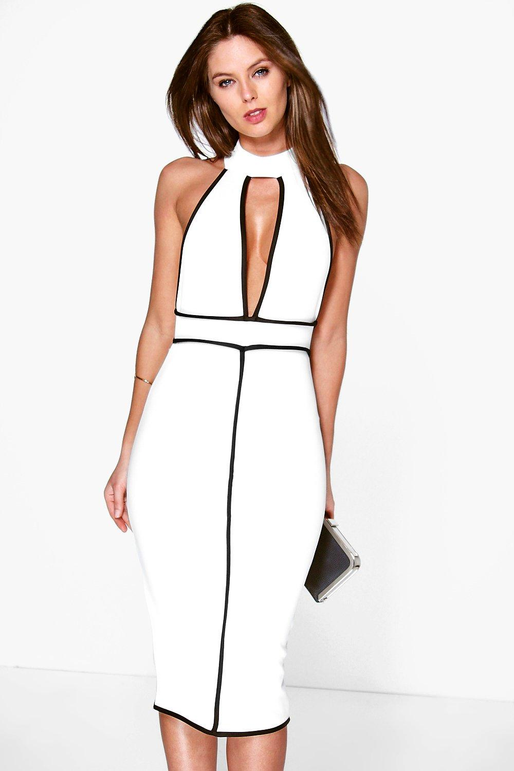 Alex High Neck Contrast Piping Midi Dress
