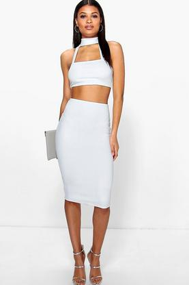 Kim Choker Bandeau Cut Out Waist Midi Dress