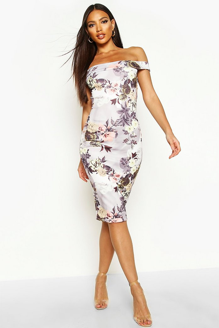 Bridgie off the shoulder floral midi dress boohoo for Boohoo dresses for weddings