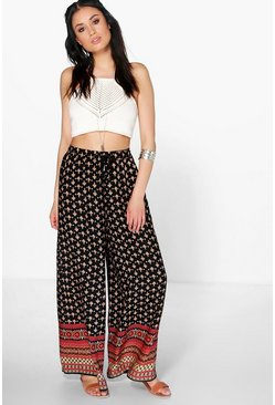 Ella Border Print Woven Wide Leg Trousers