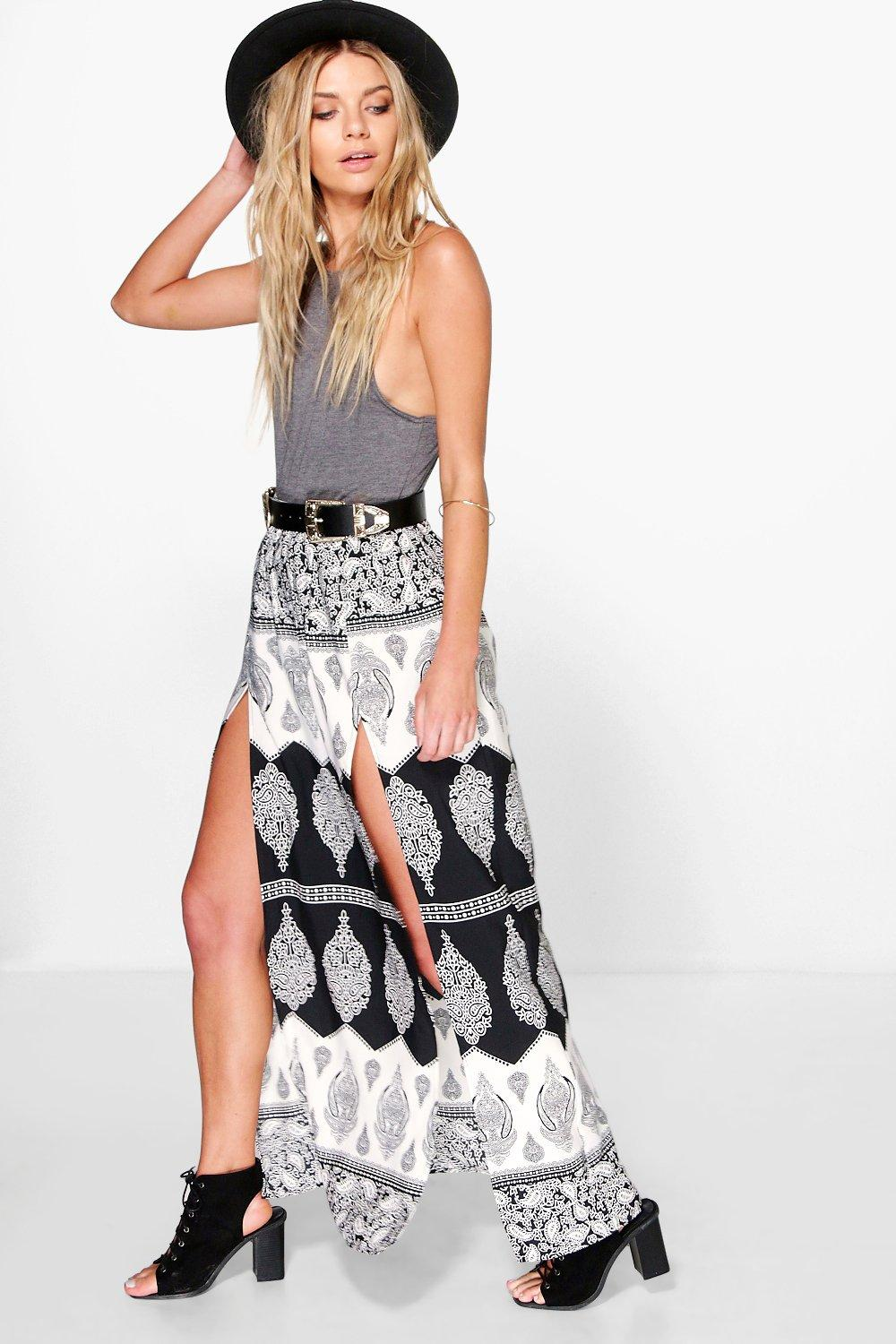 Thigh Split Maxi Skirt multi