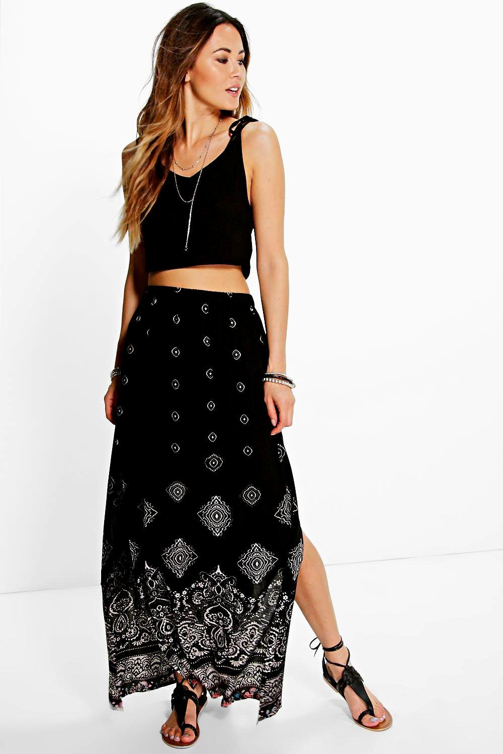 Border Print Maxi Skirt black