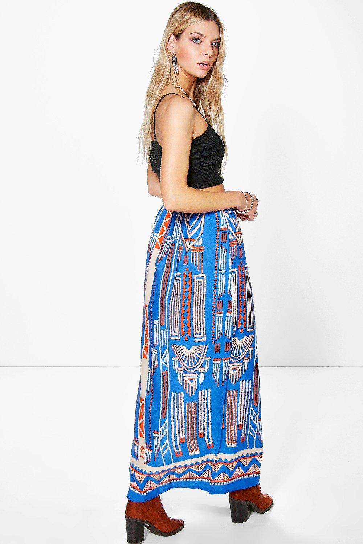boohoo uralia large aztec maxi skirt