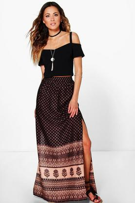 Lilly Front High Split Printed Woven Maxi Skirt