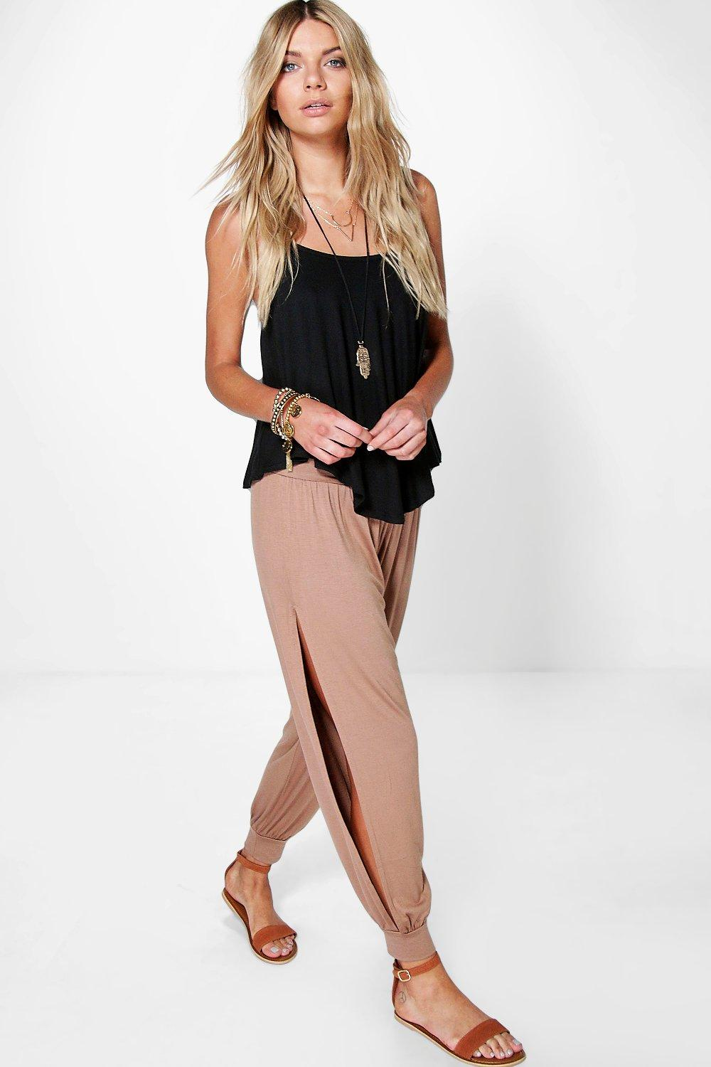 Ria Basic Jersey Split Side Hareem Trousers