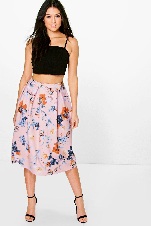 Pastel Floral Midi Skirt Skater Skirt multi