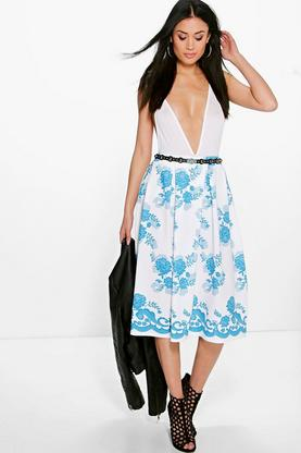 Natalia Border Lace Print Box Pleat Skater Skirt