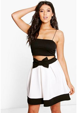 Inara Contrast Bow Box Pleat Skater Skirt