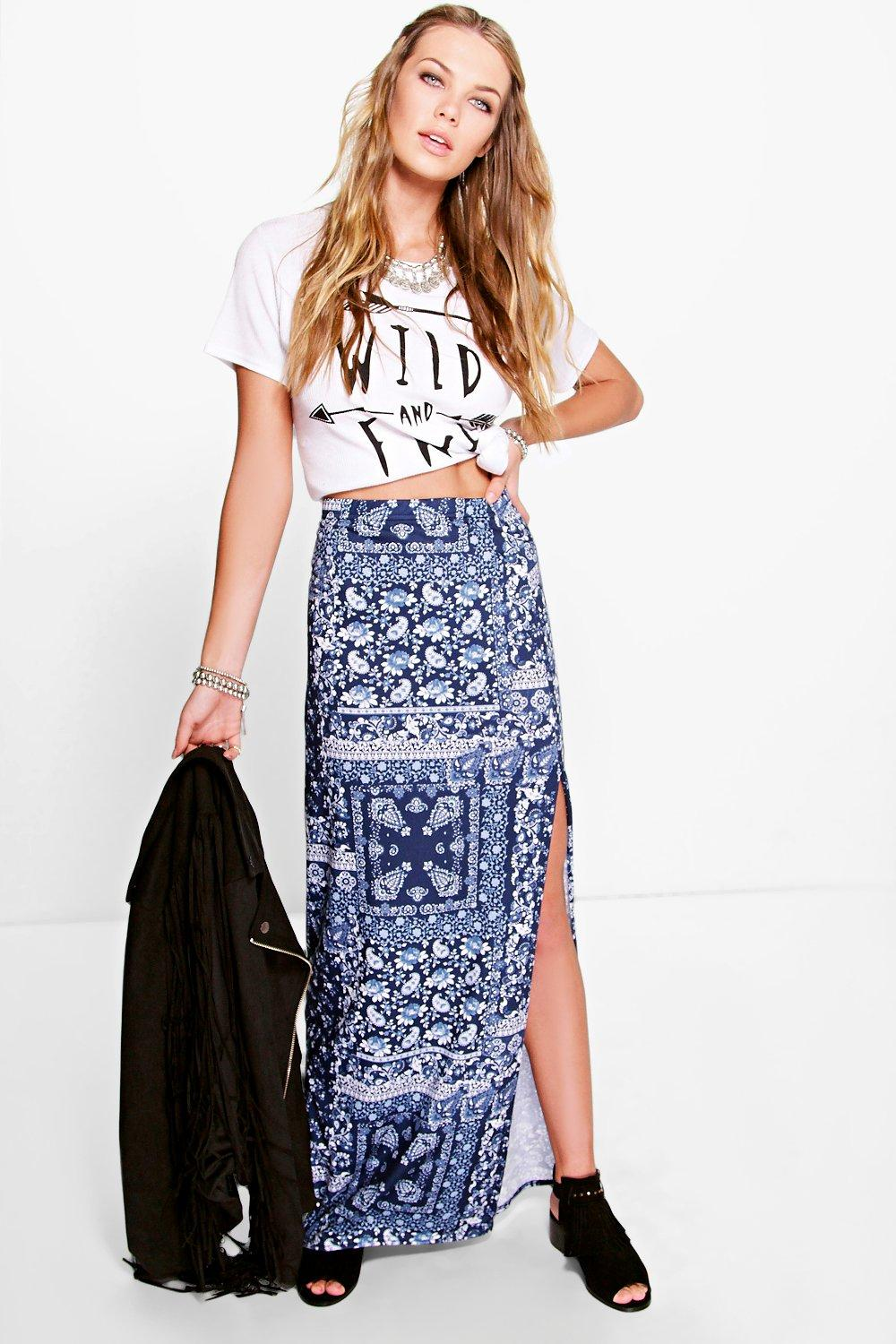Aura Porcelain Tile Print Side Split Maxi Skirt