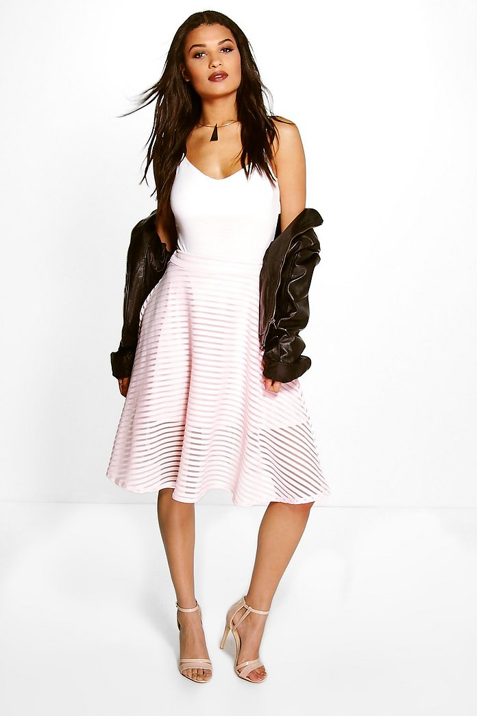 Lucia Burnout Stripe Full Midi Skirt